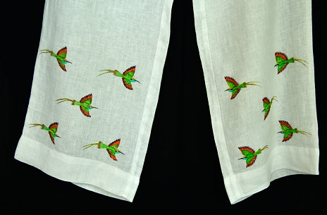 Hand painted Linen Pant with hand painted borders - Bee Eater
