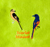 EMBROIDERED NAPKINS: SCARLET MINIVET ON A LIGHT PARROT GREEN COLOURED NAPKIN