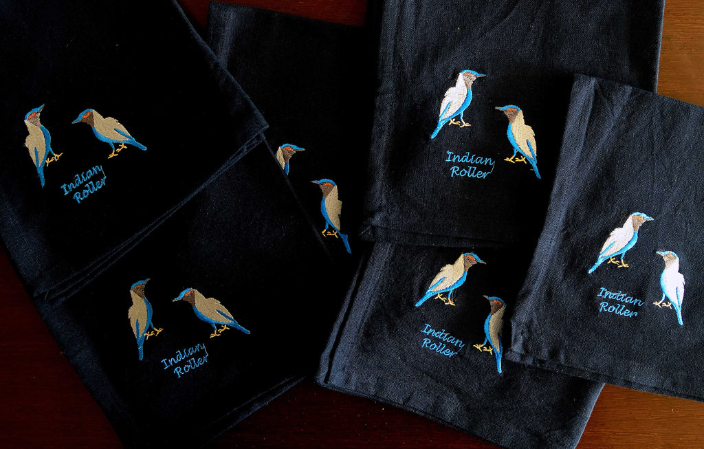 EMBROIDERED NAPKINS: INDIAN ROLLER ON A BLACK COLOURED NAPKIN