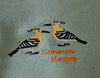 EMBROIDERED NAPKINS: COMMON HOOPOE ON A SLATY OLIVE GREEN COLOURED NAPKIN