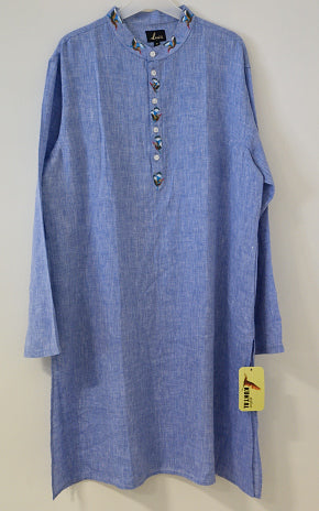 Light Blue linen kurta for men