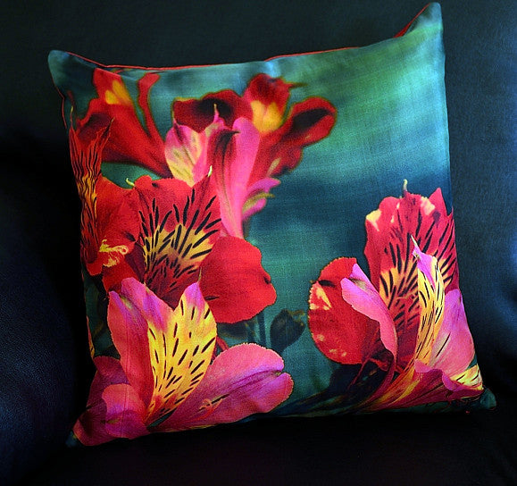 Esther Maria Red Cushion covers (16 in.-40 cm. or 18 in.-45 cm. size cushions)
