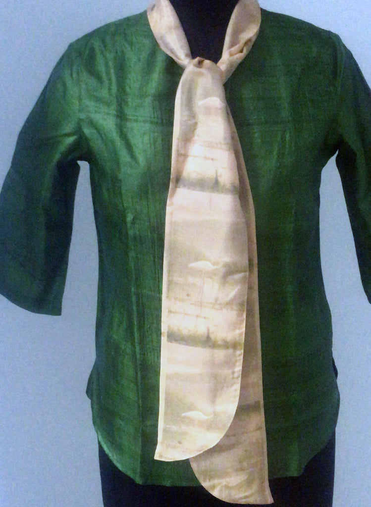Olive Green Silk Top with attached silk bow with an Egret print