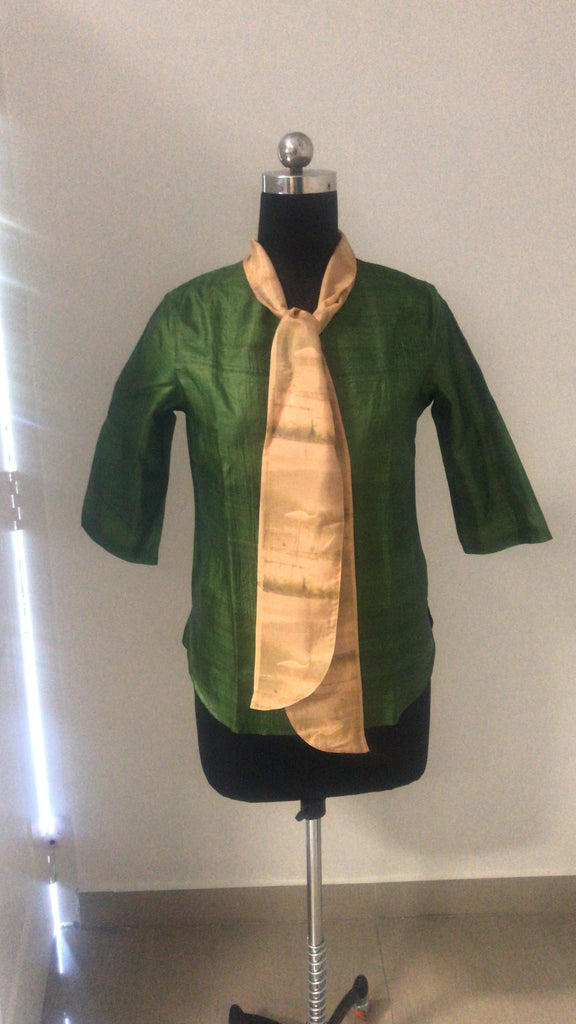 Green Silk Top with attached bow