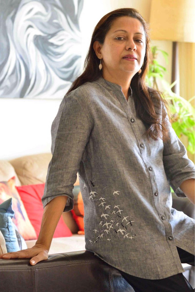 Grey Linen Top with birds in flight  embroidery