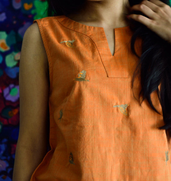 EMBROIDERED COTTON TOP ORANGE