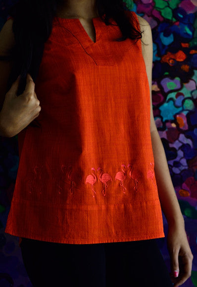 EMBROIDERED COTTON TOP RED