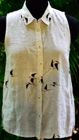 LINEN TOP: BLACK WINGED STILTS IN FLIGHT