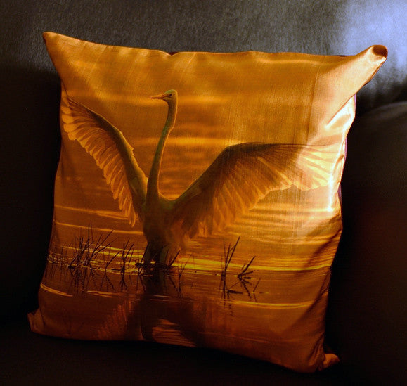 Preening Egret at dawn Cushion covers (16 in.-40 cm. or 18 in.-45 cm. size cushions)