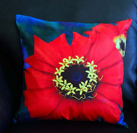 Zinia Red Cushion covers (16 in.-40 cm. or 18 in.-45 cm. size cushions)
