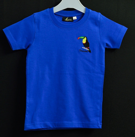 Kids Blue T shirt with Toucan Embroidery