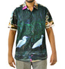 Egret in a lily pond shirt for men in cotton