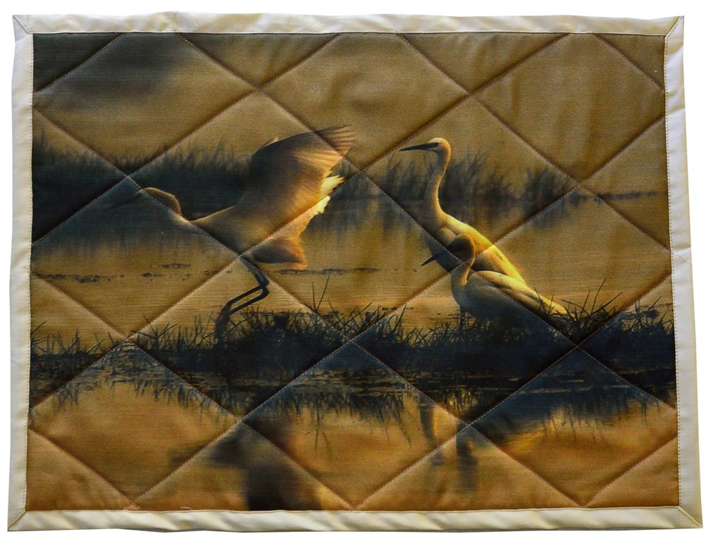 Egrets at dawn - Handcrafted table mats in cotton - set of 6