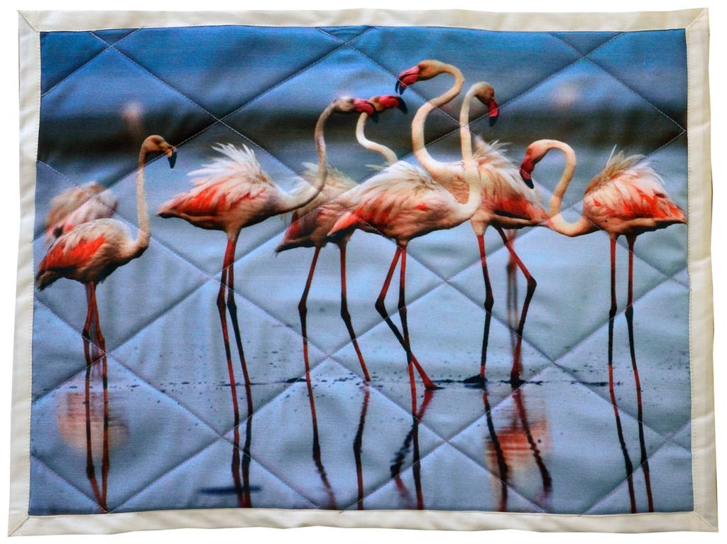 Flamingo group - Handcrafted table mats in cotton - Set of 6