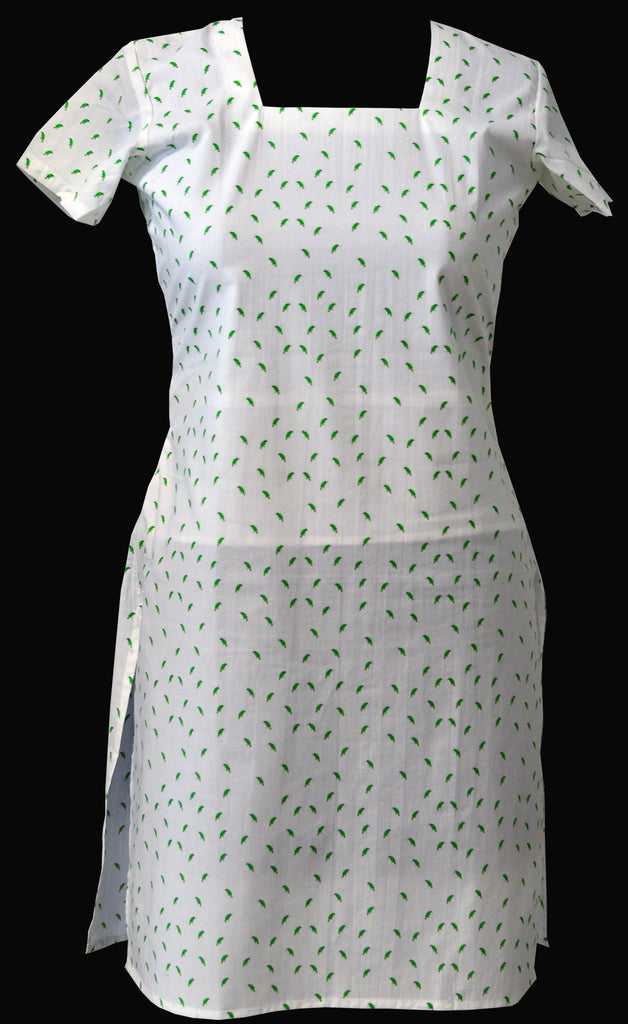 Long top in pure cotton with Golden Fronted Leafbird print