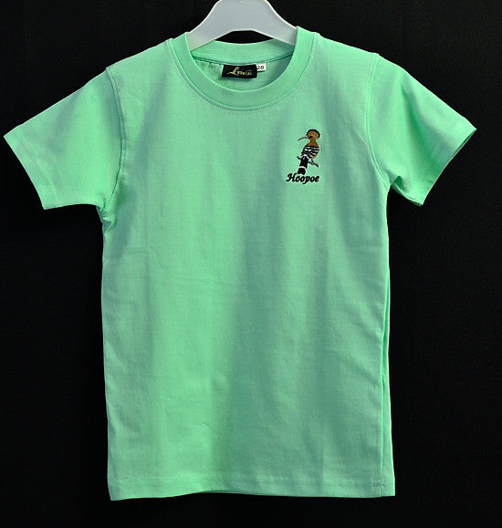 Kids Green T Shirt with Hoopoe Embroidery