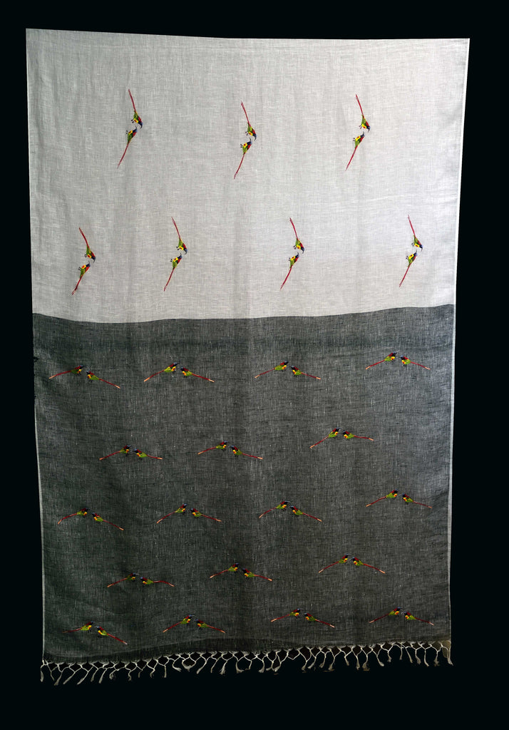 White Linen Saree with Grey Pallu with hand painted Sunbirds