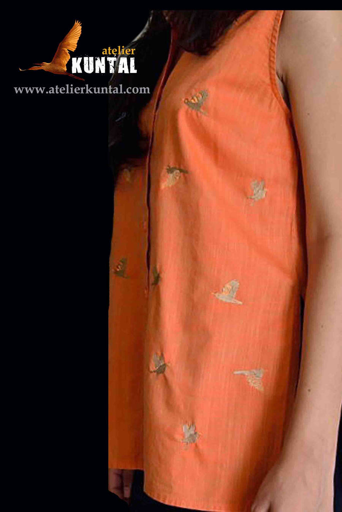 EMBROIDERED COTTON TOP ORANGE WITH BUTTONS
