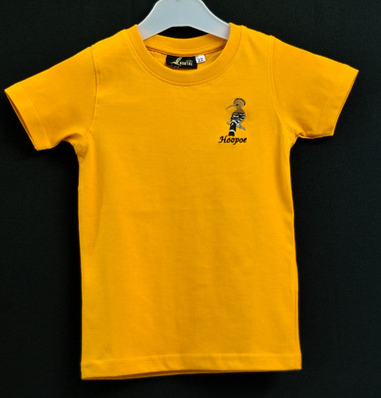 Kids Orange T shirt with Hoopoe Embroidery