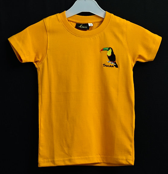 kids orange t shirt with toucan embroidery atelier kuntal