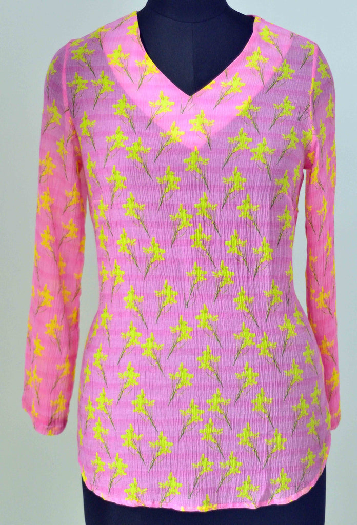 Pink Mustard ' V ' Top for women