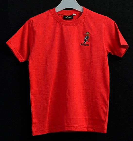 Kids Red T Shirt with Hoopoe Embroidery