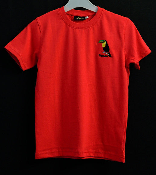 Kids Red T Shirt with Toucan Embroidery