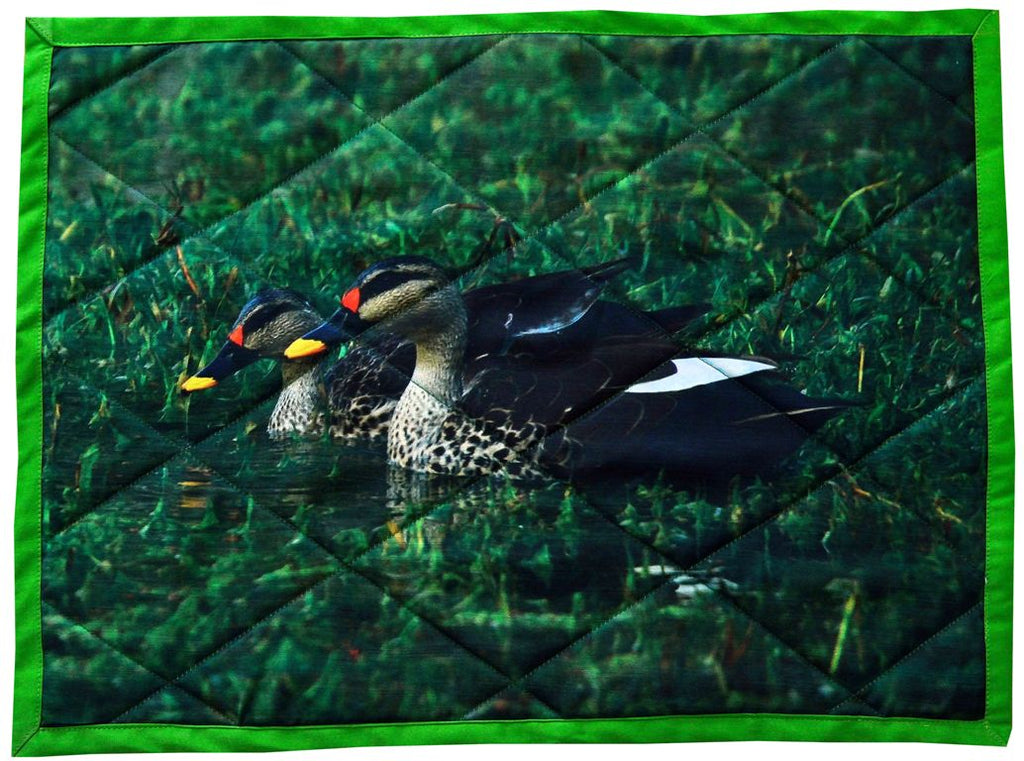 Spot Billed Duck - Handcrafted Table mats in cotton - Set of 6