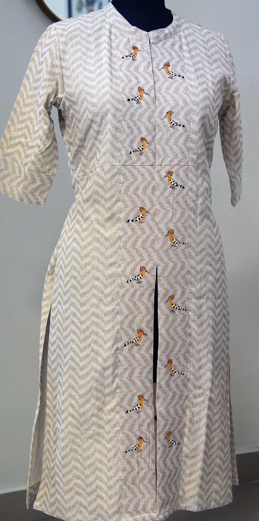 The Hoopoe Dress, hand painted, in pure cotton