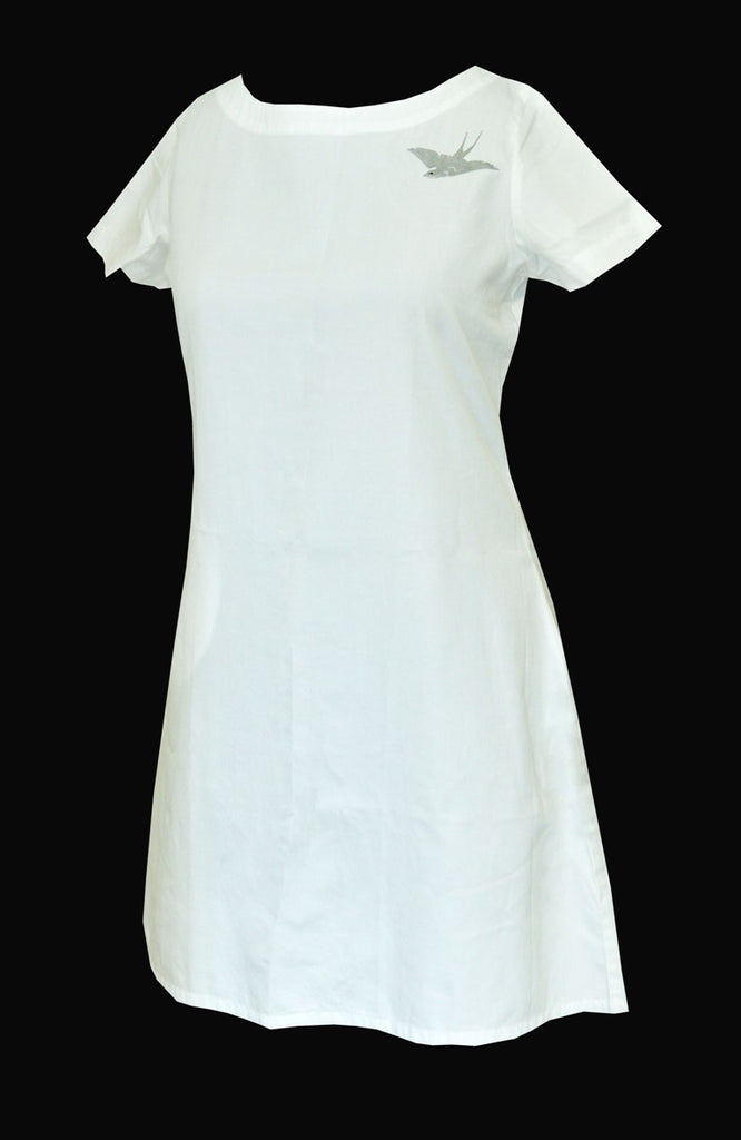 White cotton boat neck dress