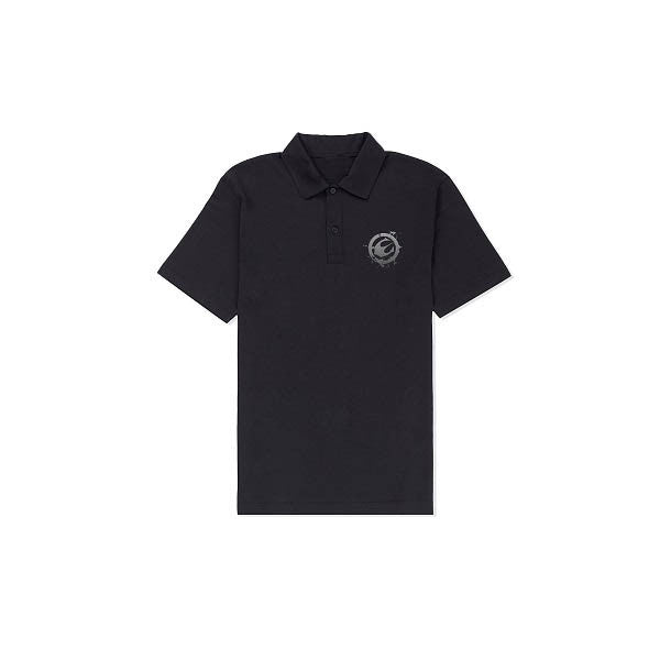Black Logo Embroidered Polo
