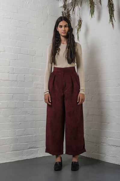 Sunset Cord Pant Maroon