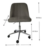 Bergen Dark grey fabric gas lift home office chair - OZZIEBARGAINS