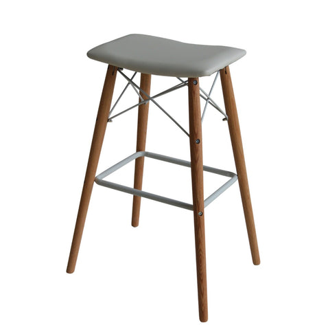 Set of 2 Saddle white barstools with Natural solid oak legs