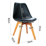 Set of 2 Dining Chair PU Leather Seat Black - OZZIEBARGAINS