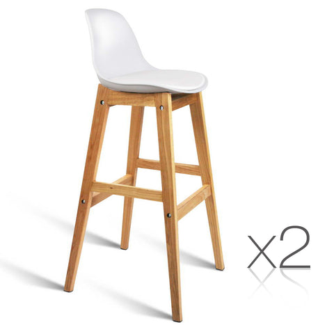 Set of 2 High Seat Back Bar Stools White