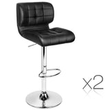 Set of 2 Leather Bar Stools - Black