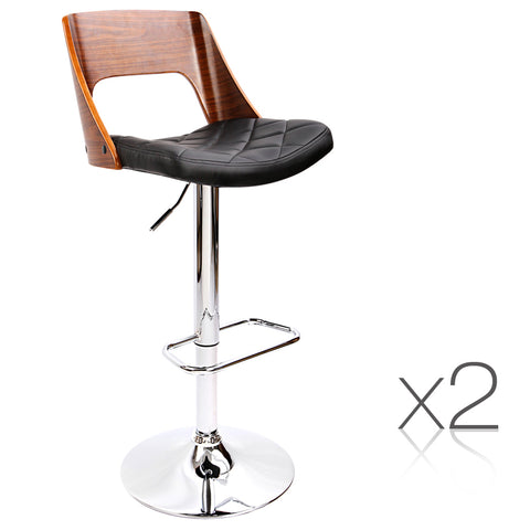 Set of 2 Wooden Bar Stools