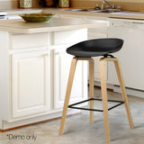 Set of 2 Wooden Barstools with Metal Footrest Black - OZZIEBARGAINS