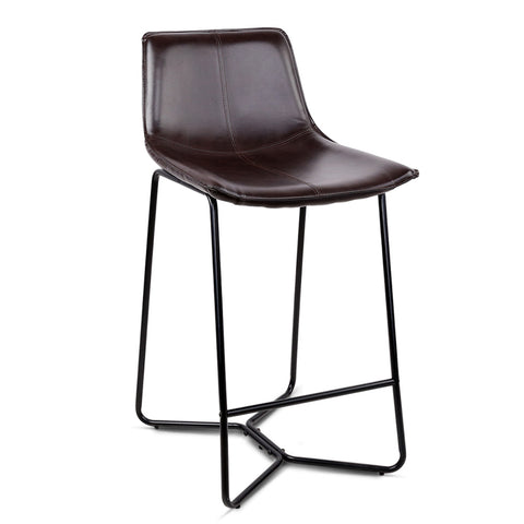 Set of 2 Bonded Leather Barstool - Black