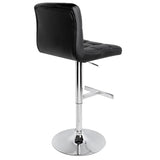 Set of 2 PU Leather Kitchen Bar Stool Black - OZZIEBARGAINS