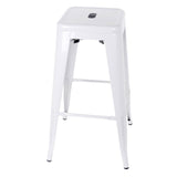 Set of 2 Steel Kitchen Bar Stools 76cm - White - OZZIEBARGAINS