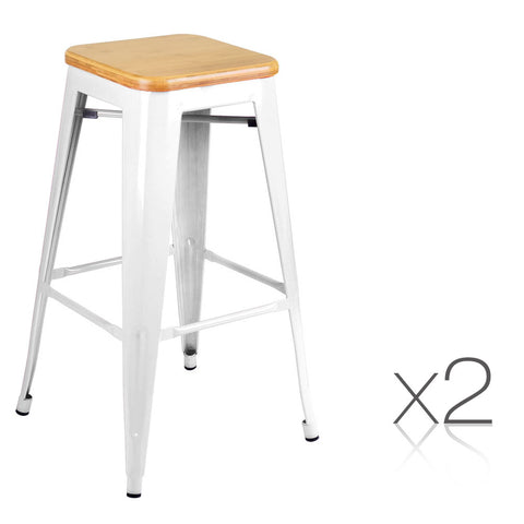 Set of 2 Tolix Replica Metal Steel Bamboo Seat Bar stool White