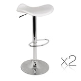 Set of 2 PU Leather Kitchen Bar Stools - White