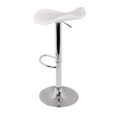 Set of 2 PU Leather Kitchen Bar Stools - White - OZZIEBARGAINS