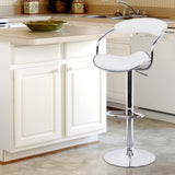 Set of 2 PU Leather Kitchen Bar Stool White - OZZIEBARGAINS