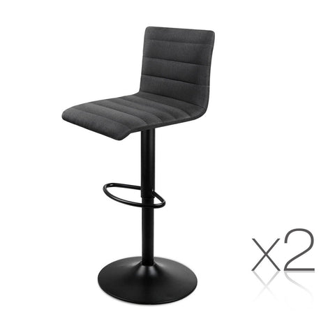 Set of 2 Fabric Kitchen Bar Stool Black