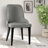 Set of 2 Fabric Dining Chairs Grey - OZZIEBARGAINS