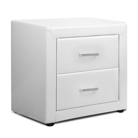 PU Leather Bedside Table 2 Drawers White