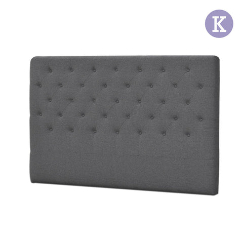 King Fabric Headboard Grey